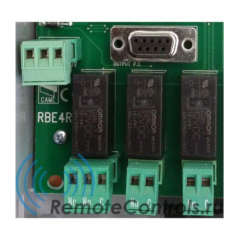 Универсальная система дистанционного управления, приемник CAME RBE4RC с динамическим кодом 433,92МГц. На рисунке реле и колодки подключения каналов. Одно реле универсальное (NO + NC)