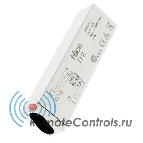Система дистанционного управления Nice TT1L. Блок управления для систем освещения и полива, 230В пер.тока, с мощностью до 500Вт, со встроенным радиоприемником. Класс защиты IP55.